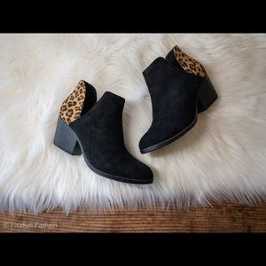 New Leopard and Black Booties